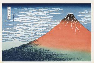 Hokusai Fuji etelätuulessa kirkkaana aamuna (Punainen Fuji)